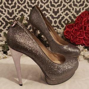 Michael Kors silver metallic platform heels